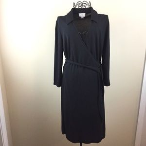 LOFT Black Wrap Long Sleeve Dress